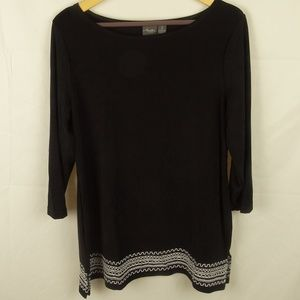 Travelers By Chico's 3/4 Sleeve Tunic Top Size 2
